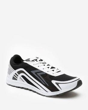 Wickers Men Mesh Sport Shoes - Black & White logo