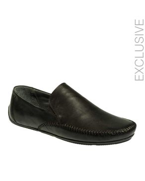 Gabbas Black Leather Moccasin with Elasticated Sides logo