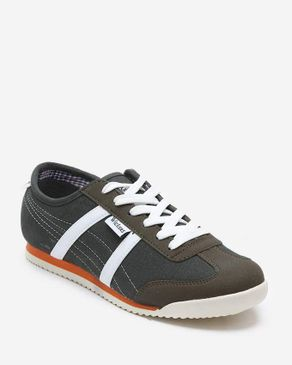 Wickers Curvy Stitched Comfy Sneakers - Olive & White logo