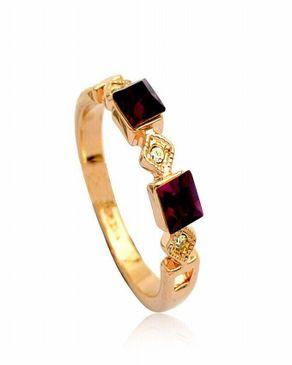 Dinardo 18K Gold Plated Swarovski Ring with Burgundy Stones logo