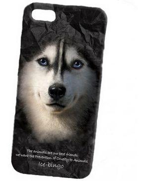 Accesory Agents 3D Shell Skin Siberian Husky Design case Black For iPhone 5 / 5S logo