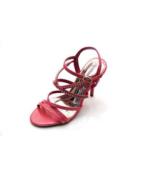 Viamarte Ladies/Women Genuine Leather Multistrap Heeled Sandals with Decorative Strass-9804-Fuchsia logo