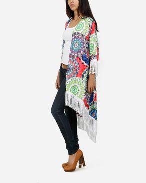 Be Positive Multicolor Kaleidoscope Fringes Kimono - Blue logo