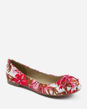Zoom Pink Textile Floral Ballerinas with Decorative Bow logo