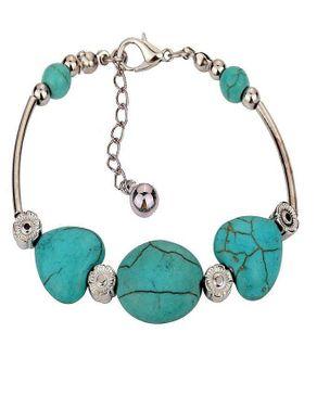 Dinardo Silver Plated Bracelet with Tibetan Turquoise Stones logo