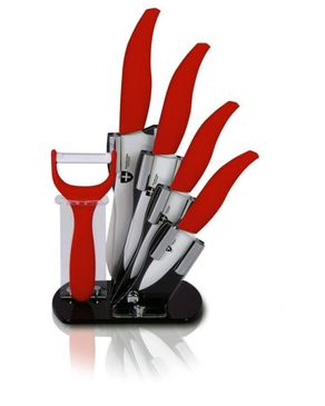 Royalty Line Switzerland 5 PCS Ceramic Knife Set with Acrylic Stand & Peeler -Red- Made in Switzerland