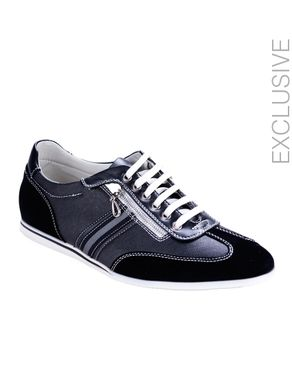 ZY Black Suede & Cracked Leather Vintage Style Tennis Shoes with Zipper logo