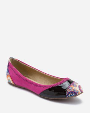 Zoom Multicolored Suede Leather Ballerinas with Textile Toecap logo