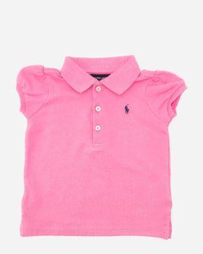 Ralph Lauren Girls Pink Cotton Puffed Cap Sleeve Polo Shirt logo