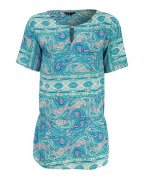 Wave Turquoise Cotton Paisley Short Sleeves Blouse logo