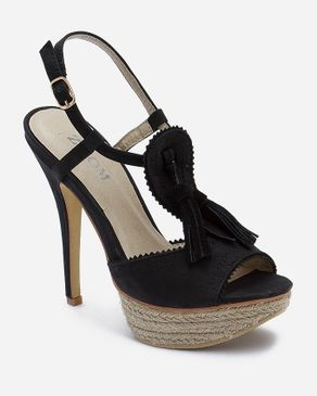 Zoom Black Leather Sandal with Decorative Tassels logo