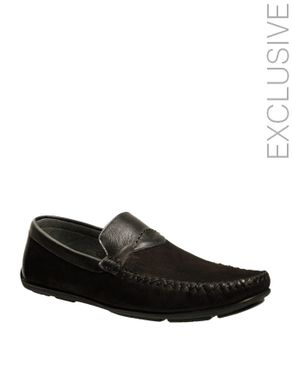 Gabbas Black Suede Leather Moccasins with Leather Detail logo