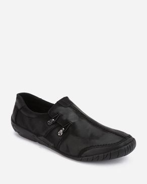 MORC 2 Side Buttons Slip On Casual Shoes - Black logo