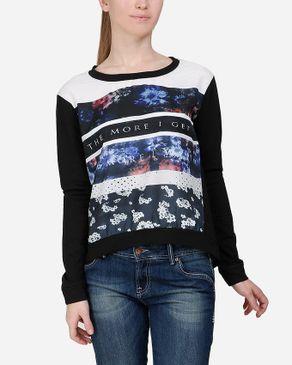 Wave Floral Sweatshirt - Black logo