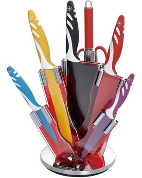 Royalty Line Switzerland Color Ceramic Coated Knife Set With Acrylic Stand - 8 Pcs ‫