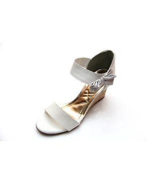 Viamarte Ladies/Women Genuine Leather Wedge Sandals with Side Bow-9840-White logo