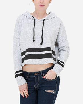 Hot Fashion Striped Cropped Hoodie - Heather Grey logo