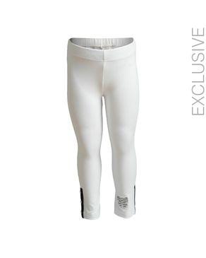 Stummer White Cotton Legging with Decorative Bow logo