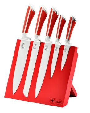Royalty Line Switzerland 5 Pieces Stainless Steel Knife Set with Magnetic Stand -Red