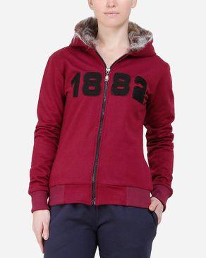 Be Positive Fur Hood Jacket - Burgundy logo
