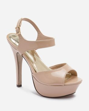 Zoom Nude Patent Leather Stilettos Sandals logo
