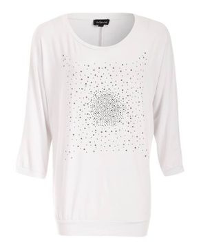 Wave White Viscose 3/4 Top with Front Silver Strass logo