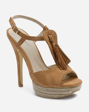 Zoom Camel Leather Sandal with Decorative Tassels logo