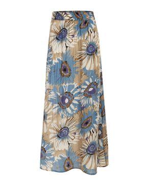 Wave Blue & Beige Cotton Floral A-Line Skirt logo