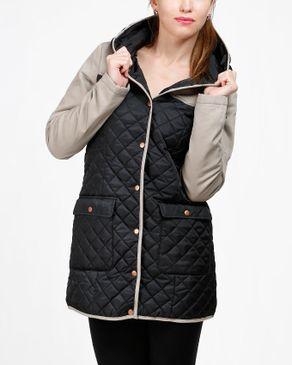 VERO MODA Quilted Coat - Beige & Black logo