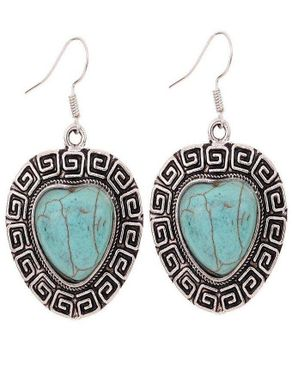 Dinardo Silver Plated Earrings with Tibetan Turquoise Stone logo