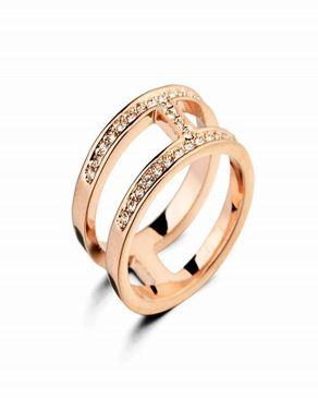 Dinardo Dinardo 18K Gold Plated Swarovski Ring logo