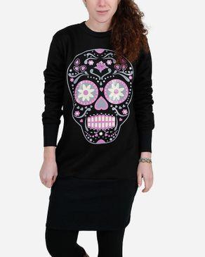 Be Positive Skull Print Long Sweatshirt - Black logo