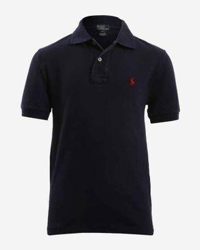 Ralph Lauren Kids Navy Cotton Short Sleeves Dipped Hem Polo Shirt logo