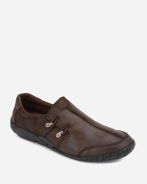 MORC 2 Side Buttons Slip On Casual Shoes - Dark Brown logo