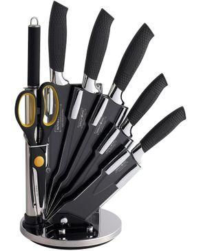 Royalty Line Switzerland 8 Pcs Non-Stick Coating Knife Set - Black