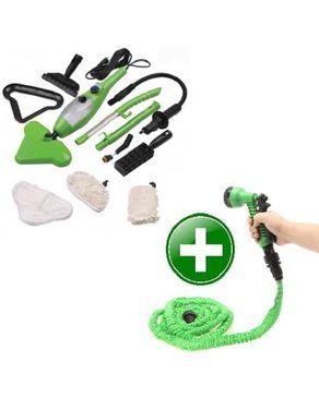 GUG Steam Mop X5 Cleaner 1300W + The Expanding Garden Hose - 25Ft - Green logo