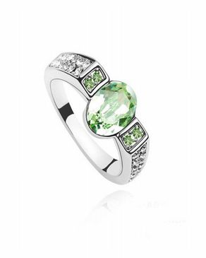 Dinardo Silver 18K Gold Plated Swarovski Ring with Green Stone logo