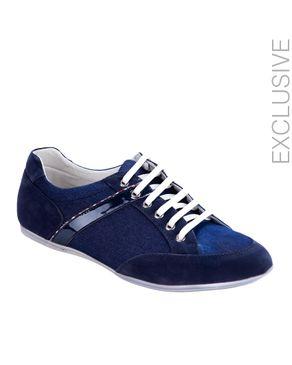 ZY Navy Suede & Denim Tennis Shoes logo