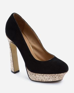 Zoom Black Suede Pumps with Decorative Glittery Heels logo