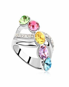 Dinardo 18K Silver Plated Swarovski Ring with Colorful Stones logo