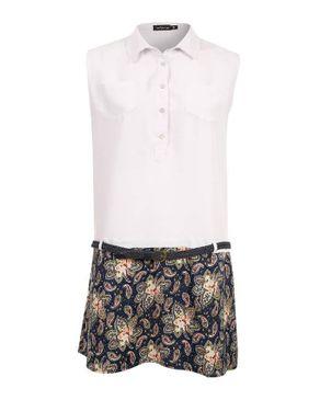 Wave White & Navy Cotton Drop Waist Dress with Additional Braided Belt logo