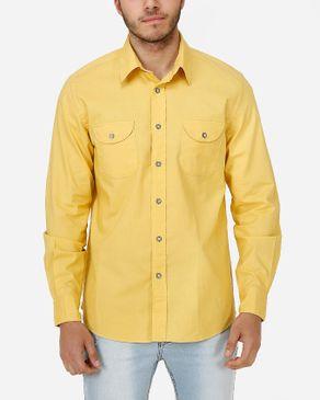 Concrete Regular Fit Shirt-Mustard logo