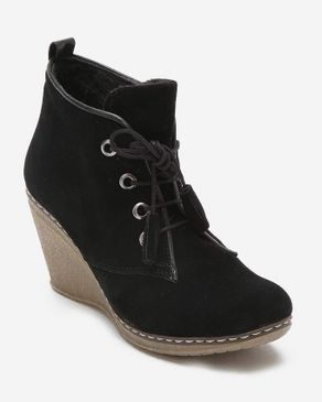 Wespa Lace Up Wedge Bootie - Black logo
