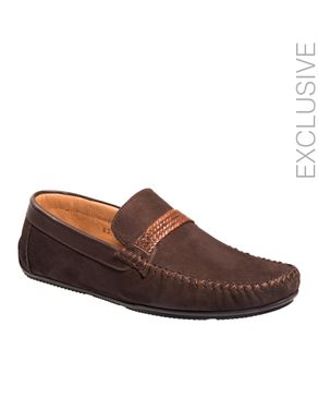 Gabbas Dark Brown Suede Leather & Leather Moccasin with Deorative Braided Rubber Strap logo