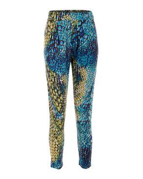 Wave Blue & Green Cotton & Viscose Abstract Baggy Pants logo
