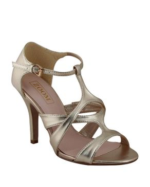 Zoom Gold Patent Leather Stiletto Sandals logo
