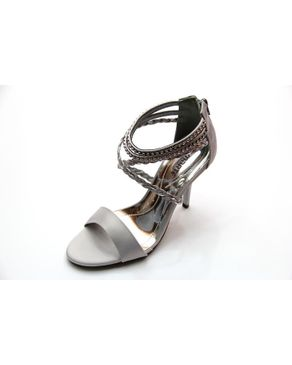 Viamarte Ladies/Women Genuine Leather Heeled Sandals with Braided Strap & Strass-9788-Light Grey logo