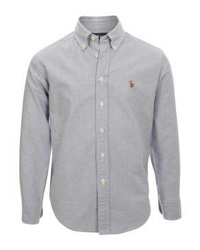 Ralph Lauren Kids Light Blue Cotton Oxford Shirt with Pony Player Logo logo