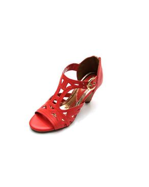Viamarte Ladies/Women Genuine Leather Cut Out Heeled Sandals-9812-Red logo