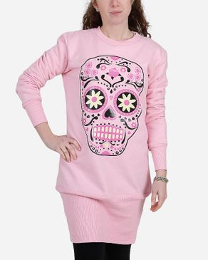 Be Positive Skull Print Long Sweatshirt - Light Pink logo
